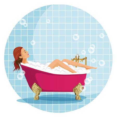 shower bath: Girl in Luxury bathroom illustration.
