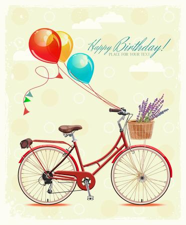 Geburtstaggrußkarte mit dem Fahrrad und Luftballons im Vintage-Stil Standard-Bild - 34994779