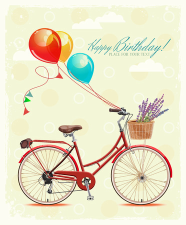 Birthday greeting card with bicycle and balloons in vintage style Illustration
