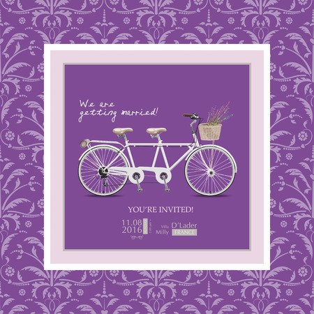 tandem: Wedding invitation in vintage style and lilac shades. Bike - a tandem with a basket of lavender. Illustration