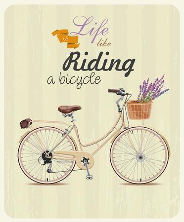 bicicleta retro: Bicicleta con lavanda en la cesta