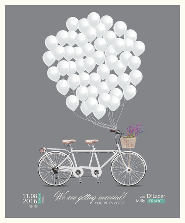 bicycles: Postcard invitation to the wedding
