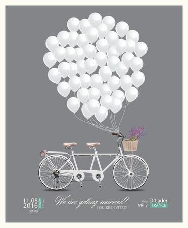 Postcard uitnodiging voor de bruiloft Stock Illustratie