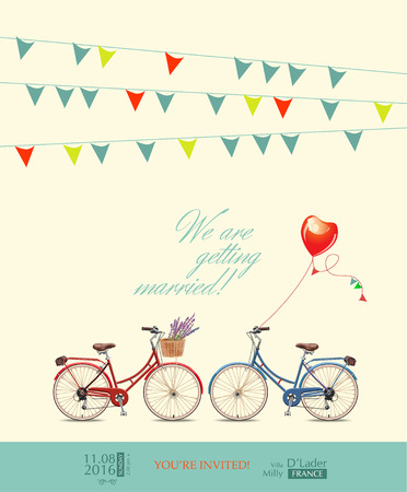 Red and blue bikes for the bride and groom
