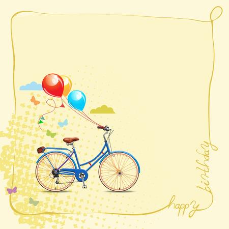 Feliz cumpleaños tarjeta de felicitación romántica. Bicicleta y la torta del estilo de la vendimia. Foto de archivo - 34994797