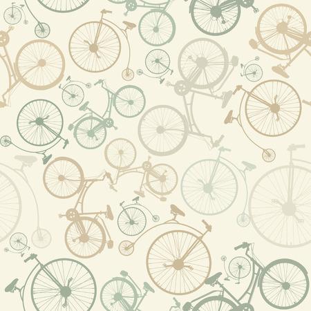 빈티지 스타일의 베이지 색 배경에 자전거와 함께 원활한 패턴입니다.