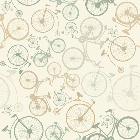 Seamless pattern with bicycles on beige background in vintage style. Иллюстрация
