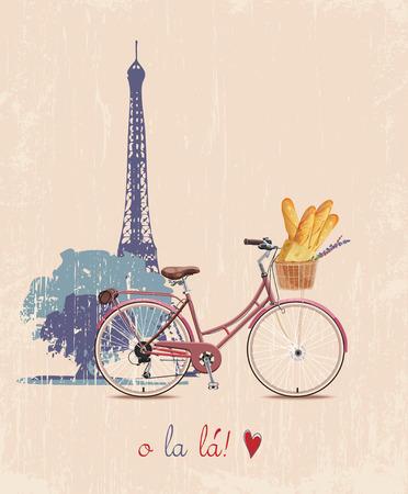 自転車とビンテージ スタイルでフランスのバゲット ポスター