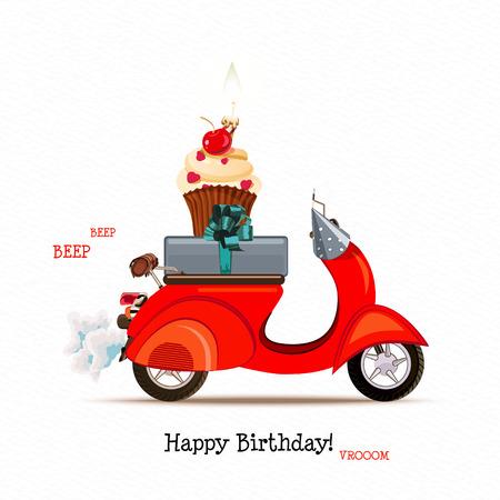 빨간 스쿠터, 선물 및 먹고 생일 인사말 카드