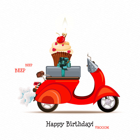 Birthday greeting card with red scooter, gift and cupcake Illusztráció