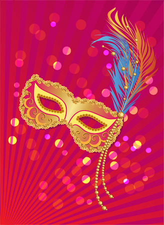 mardi gras mask: Golden Mardi Gras design element. Carnival background