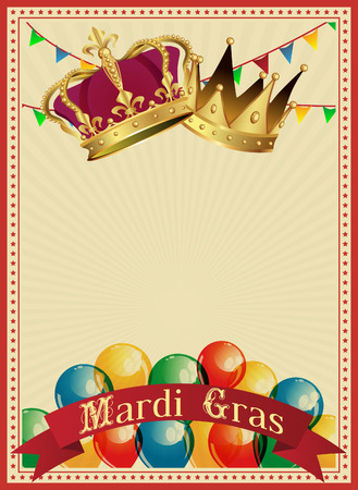 Golden Mardi Gras design element. Carnival background