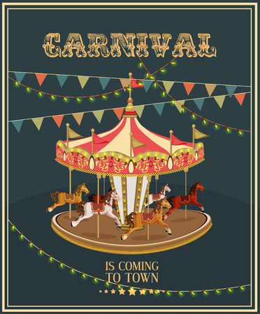 merry go round: Carnival poster with merry-go-round in vintage style. Carousel with horses.
