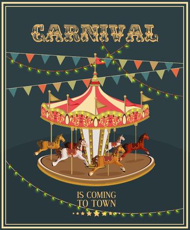 marcos redondos: Cartel de Carnaval con merry-go-round en el estilo vintage. Carrusel con los caballos.