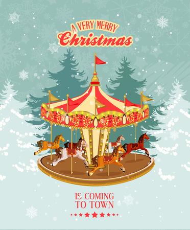 carnival ride: Christmas card with vintage merry-go-round, christmas tree and snowflakes.