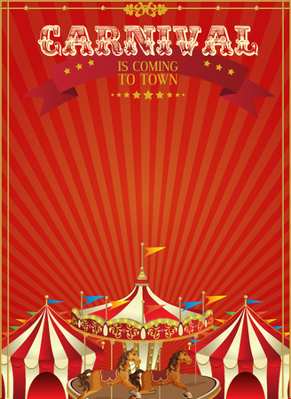 Carnival poster with merry-go-round in vintage style. Carousel with horses.