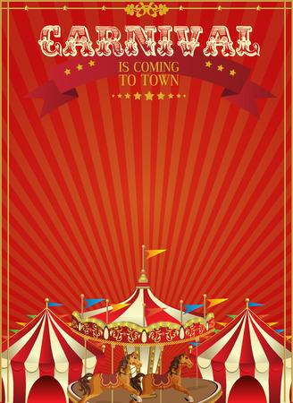 circus animals: Cartel de Carnaval con merry-go-round en el estilo vintage. Carrusel con los caballos.