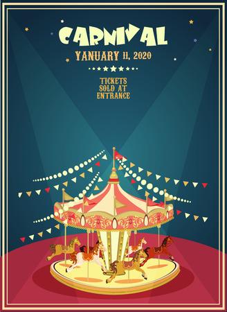 circulaire: Affiche carnaval avec Merry-go-round dans le style vintage. Carousel avec des chevaux.