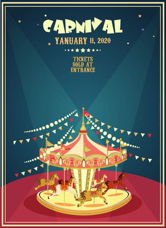amusement: Carnival poster with merry-go-round in vintage style. Carousel with horses.