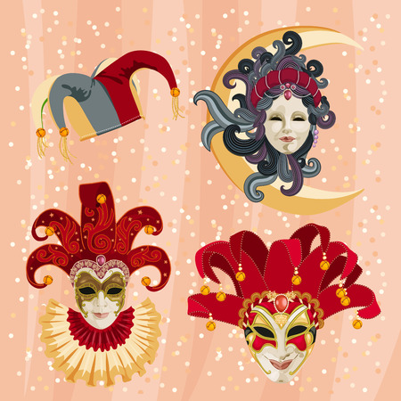 Set of traditional carnival mask on a colorful background with sparkles
