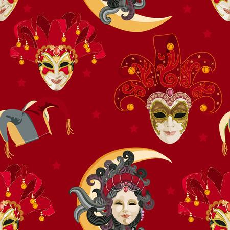 antifaz de carnaval: Patrón sin fisuras con máscara de carnaval veneciano colorido sobre fondo rojo tradicional