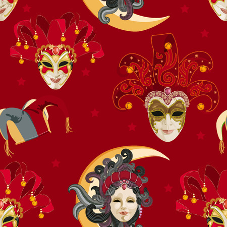 harlequin clown in disguise: Seamless pattern with carnival venetian colorful mask on traditional red background