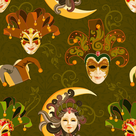 harlequin clown in disguise: Seamless pattern with carnival venetian colorful mask on traditional green background Illustration