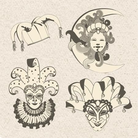 mascara de carnaval: Conjunto de la máscara del carnaval tradicional en un fondo colorido con destellos