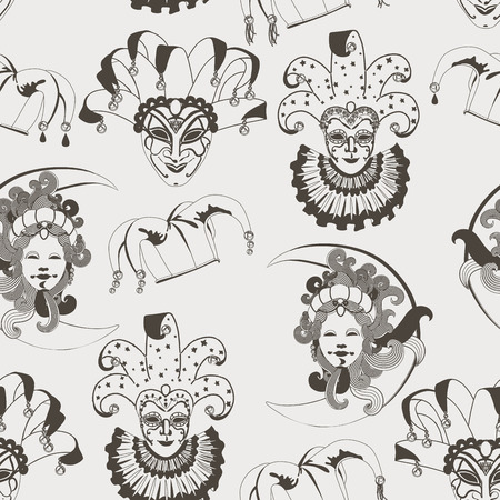 harlequin clown in disguise: Seamless pattern with carnival venetian traditional masks on gray background
