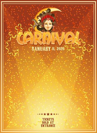 カーニバルのポスターです。マルディグラ。ヴェネツィアのカーニバルのバナー。休日のテンプレートです。  イラスト・ベクター素材