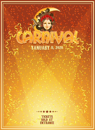 Carnival poster. Mardi Gras. Venice Carnival banner. Holiday template. Çizim