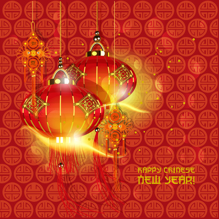 Chinese new year Oriental traditional lanterns Illustration