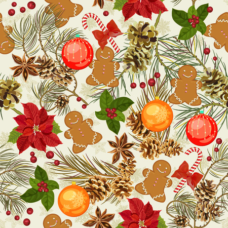 Christmas seamless pattern with Christmas balls, Christmas flowers, candy, gingerbread, fir branches, berries, mistletoe Illustration