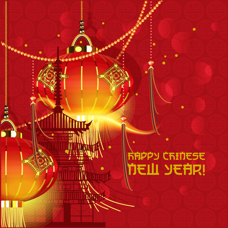 chinese astrology: Chinese new year Oriental traditional lanterns Illustration