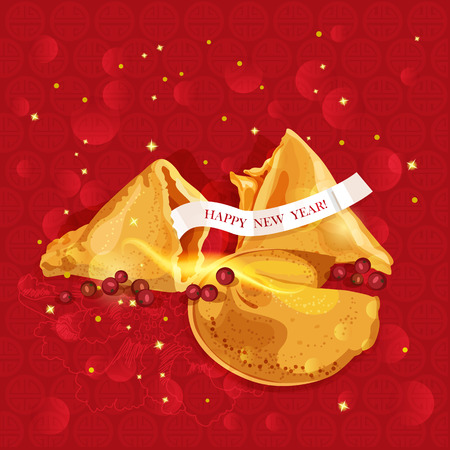 fortune design: Chinese new year Oriental East Fortune cookies