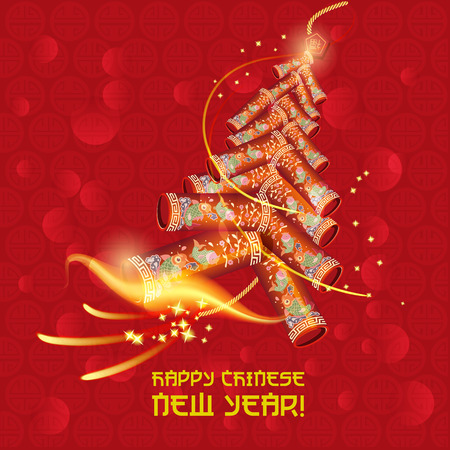 firecracker: Chinese new year Oriental firecracker Illustration