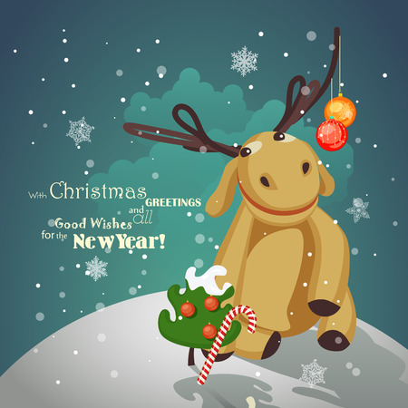 Christmas reindeer with Christmas decorations on the horns Vector