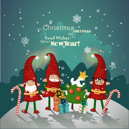 elf: Christmas elves in red caps with gifts and Christmas decorations in hand on a Christmas card greeting
