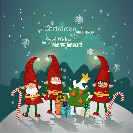 elfos navideÑos: Duendes de Navidad en tapas rojas con regalos y decoraciones de Navidad en la mano en un saludo Tarjeta de Navidad
