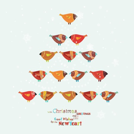 christmas robin: Christmas card with Christmas tree of birds in cartoon style. Doodle design greeting poster.