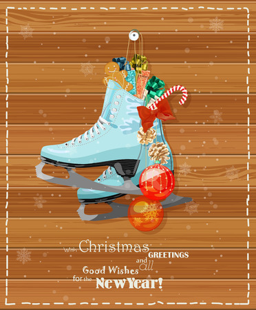 Skates with Christmas decorations, cookies, candies at Christmas Greeting Cards