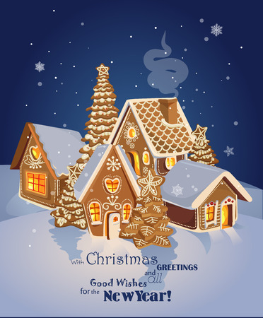 snow house: Christmas greeting card with Winter village of ginger cookies. Happy new year Illustration
