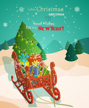 Christmas red sleigh with colorful gifts and christmas tree. Vector