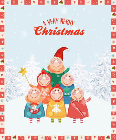 caroling: Christmas greeting card with happy children and snowflakes. Cartoon style. Illustration