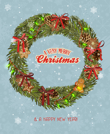 Christmas wreath with garland, gingerbread, Christmas balls, red bows Vector