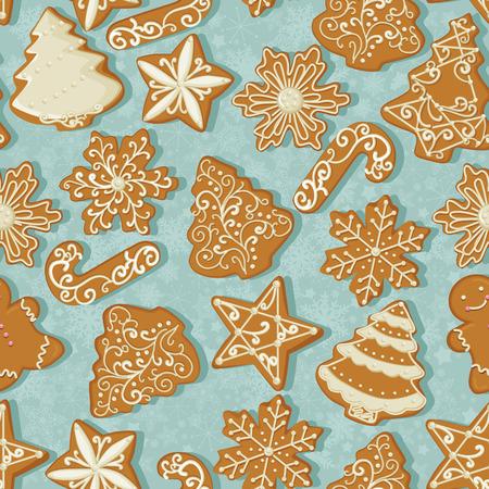 背景色が水色でビンテージ スタイルでクリスマスのジンジャーブレッドのシームレスなパターン。