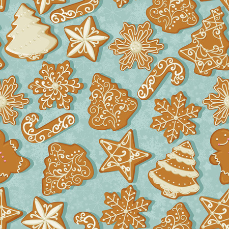 Seamless pattern with Christmas gingerbread in vintage style on turquoise background. Çizim