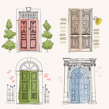 Old doors in vintage style on watercolor background Çizim