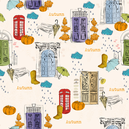 telephone booth: City Seamless pattern with old doors, clouds, rain, pumpkins, telephone booth, rubber boots, bench in vintage style Illustration