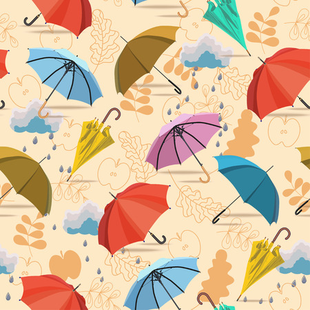 umbrella rain: Seamless pattern with umbrellas and leaves on beige background
